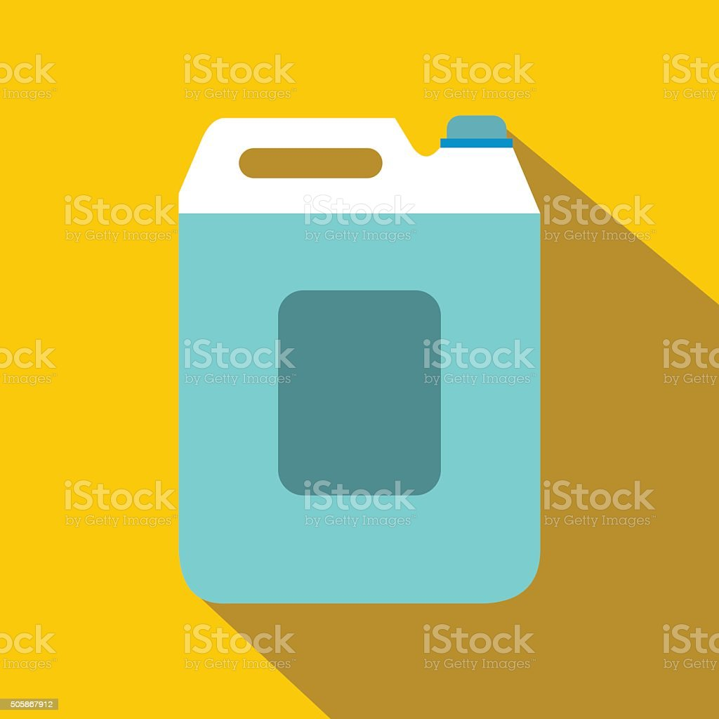 Plastic canister flat icon with shadow vector art illustration