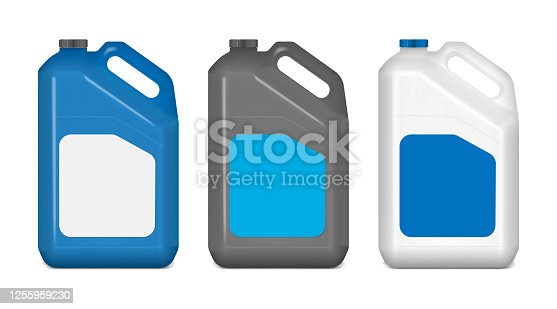 Plastic canister with white blank label, mockup. Jerry can, mock-up. Blue, black, white colors. Large bottle with handle and screw cap. Vector template.