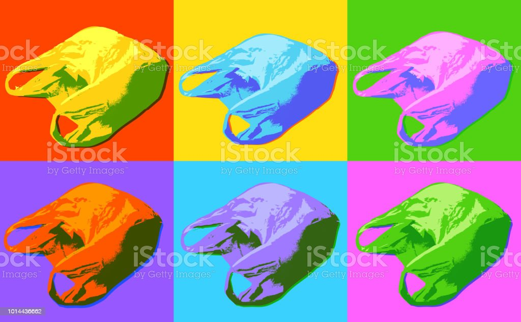 Plastic Carrier Bags In A Pop Art Style Stock Illustration