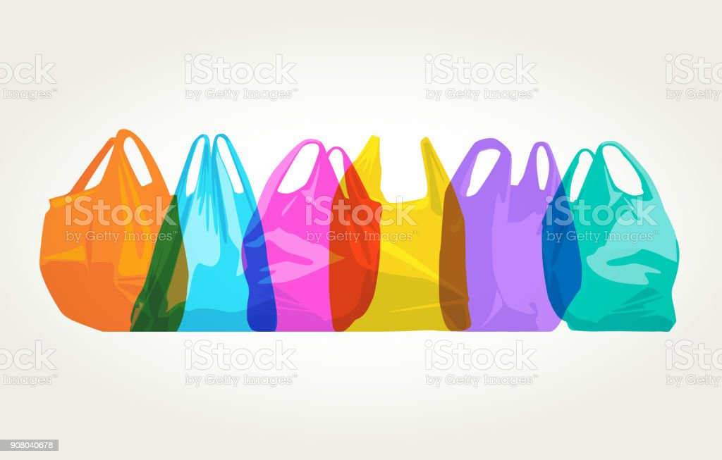 Plastic Carrier Bags vector art illustration