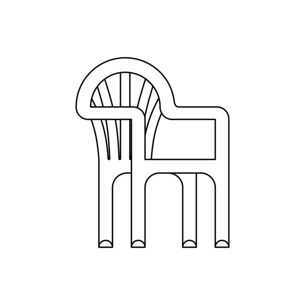 Plastic chair isolated. Summer furniture Vector illustration. Plastic chair isolated. Summer furniture Vector illustration. porch stock illustrations