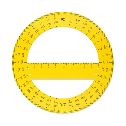 Plastic circular protractor with a ruler in metric units