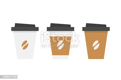 Plastic coffee cup. flat style. isolated on white background
