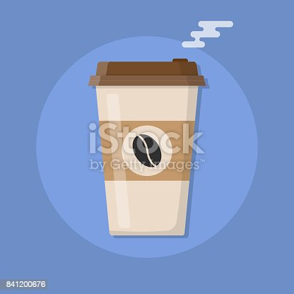 Plastic coffee cup with hot coffee icon. Vector illustration in flat style