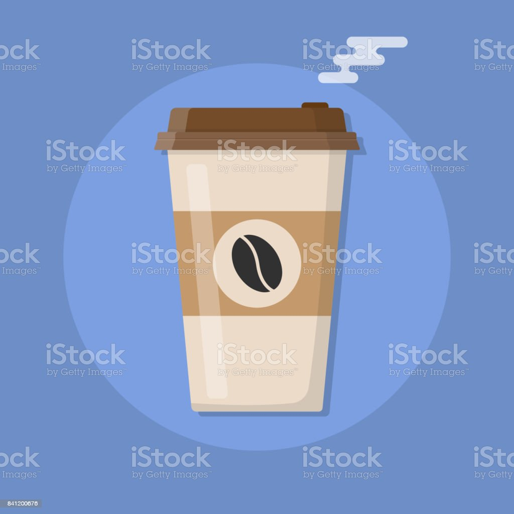Plastic coffee cup with hot coffee vector art illustration