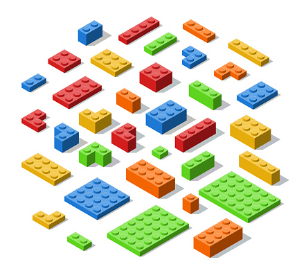 Plastic Colorful Construction Blocks, Bricks and Planes in Isometric Style