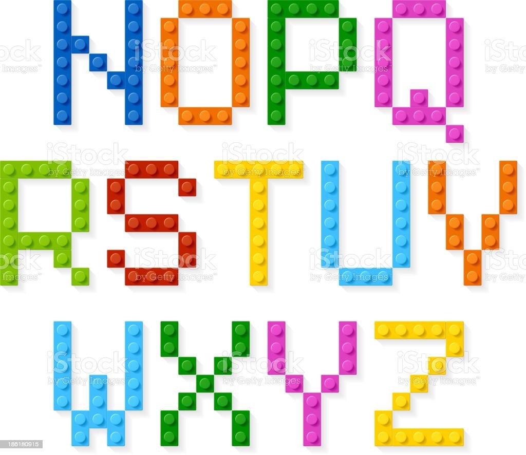 Plastic construction blocks alphabet vector art illustration