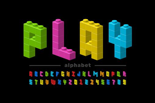 Plastic construction blocks font