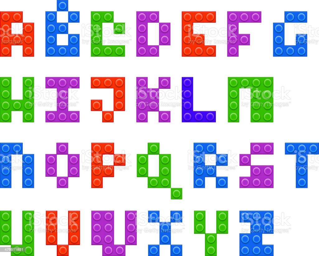 Plastic constructor alphabet vector art illustration