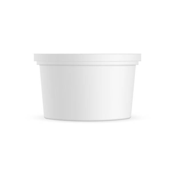 illustrazioni stock, clip art, cartoni animati e icone di tendenza di plastic container mockup isolated on white background - gelato confezionato