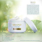 Plastic container with cosmetic cream on a natural background. Skin Care ads template.