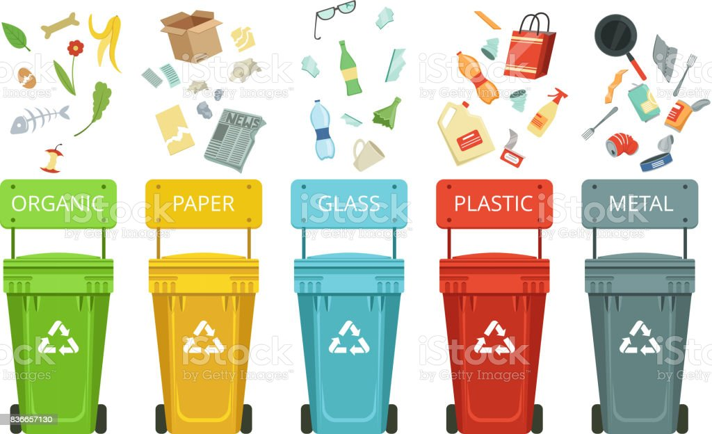 Envases de plástico para basura de diferentes tipos. Ilustraciones de vectores en estilo de dibujos animados - ilustración de arte vectorial
