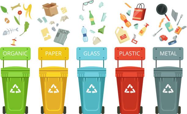 illustrations, cliparts, dessins animés et icônes de contenants en plastique pour les déchets de types différents. illustrations vectorielles en style cartoon - recyclage
