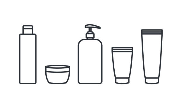 Plastic containers icons cosmetic and body care vector art illustration