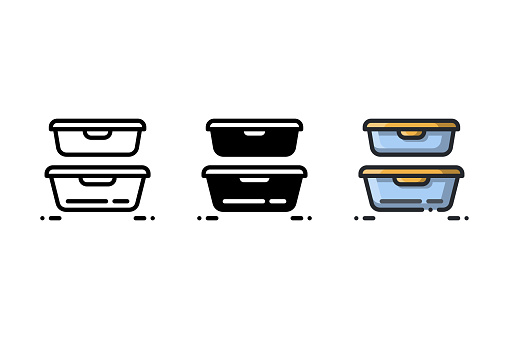 Plastic containers icon. With outline, glyph, and filled outline style. Best usage as user interface, infographic element, app icon, web icon, etc.