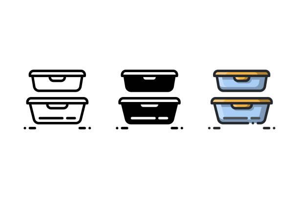 ilustraciones, imágenes clip art, dibujos animados e iconos de stock de los envases de plástico son ideales para mantener los alimentos y las sobras frescas - leftovers