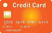 Orange credit card with orange guilloche