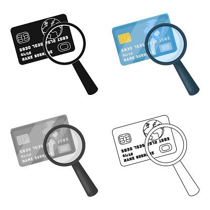 Plast Kreditkort Med Ett Förstoringsglas Detektiv Som Letar Fingeravtryck Detektiv Enda Ikon I Tecknad Stil Vektor Symbol Lager Web Illustration-vektorgrafik och fler bilder på Abstrakt