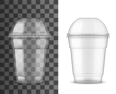 Plastic cup and dome lid, package realistic mockup