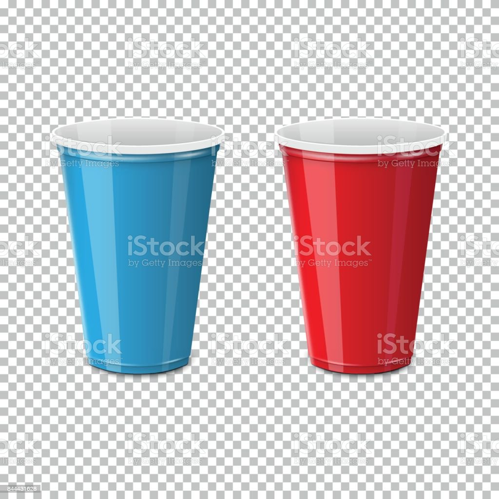 Plastic cup for single use vector art illustration