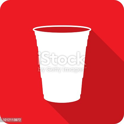 Vector illustration of a red plastic cup icon in flat style.