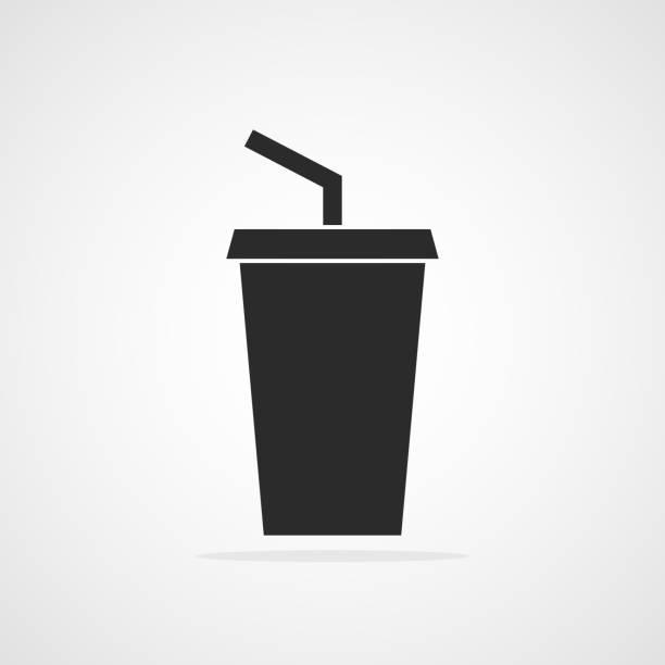 ilustrações de stock, clip art, desenhos animados e ícones de plastic cup icon. vector illustration. - palha