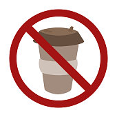 Plastic cup of coffee in a prohibition sign. Zero waste. Ban on disposable tableware. Vector element for logos, badges, labels and your design.