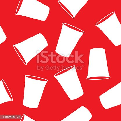 Vector illustration of plastic cups in a repeating pattern against a red background.