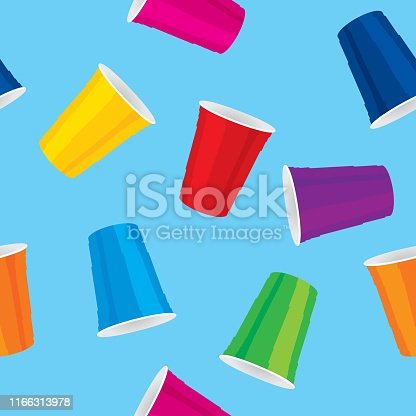 Vector illustration of multi-colored plastic cups in a repeating pattern against a blue background.