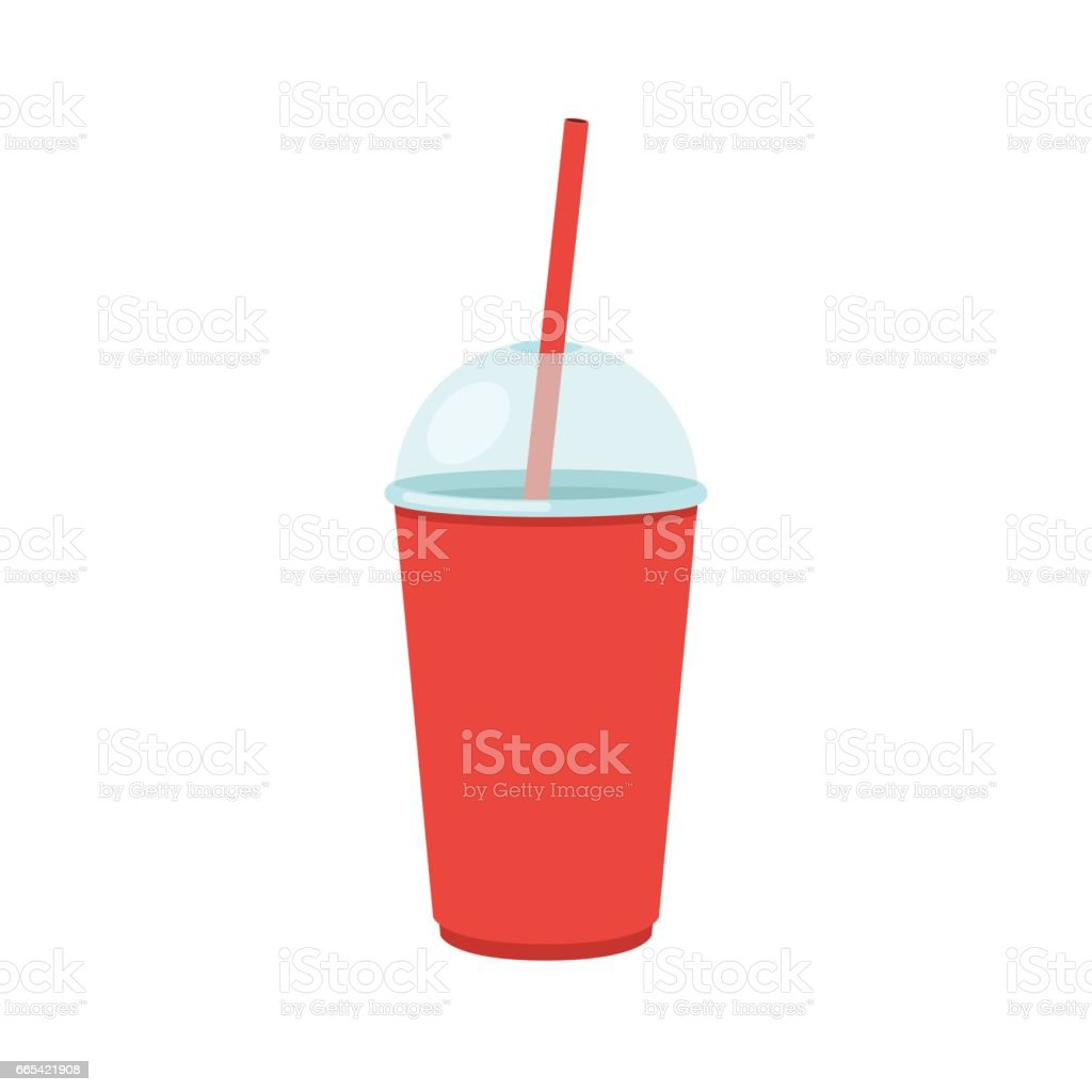 Plastic cup with lid and straw vector art illustration