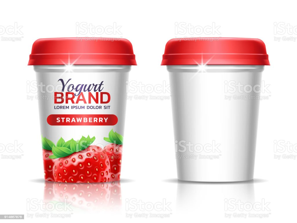 A plastic cup with lid for dairy products. Paper cup for drinks. Package design template. 3d realistic illustration. Theme of fermented dairy products, agricultural. Healthy dietary food