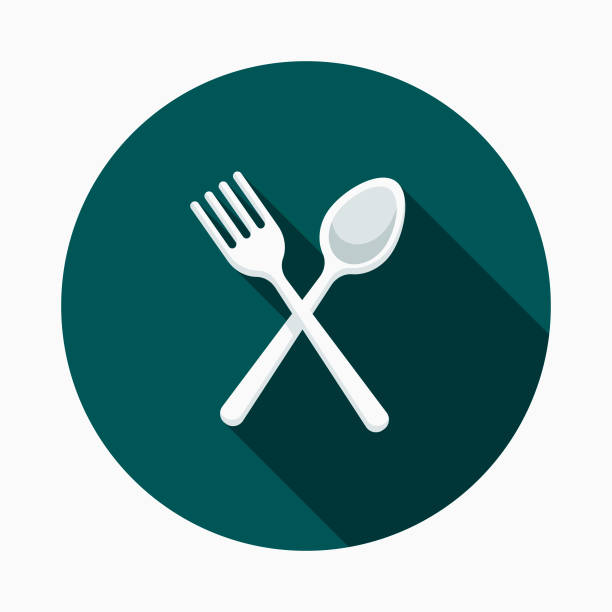 Plastic Cutlery Flat Design Street Food Icon A flat design styled street food icon with a long side shadow. Color swatches are global so it's easy to edit and change the colors. spoon stock illustrations