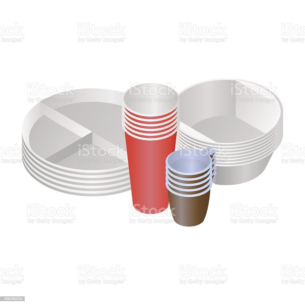 plastic dishes vector art illustration