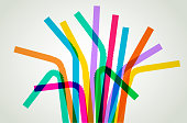Overlapping silhouettes of plastic drinking straws suggesting an environmental issue. Best in RGB colors.