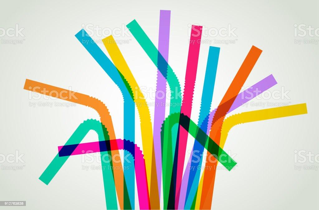 Plastic Drinking Straws vector art illustration