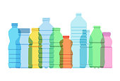 Overlapping silhouettes of plastic drinks bottles suggesting environmental issue. Best in RGB colors.