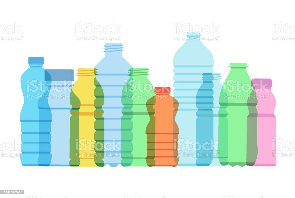 Botellas plásticas de bebidas - ilustración de arte vectorial