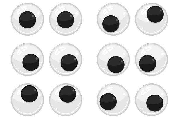plastic eyes for toys, dolls. eyeballs vector cartoon set isolated on white background. - kukiełka stock illustrations