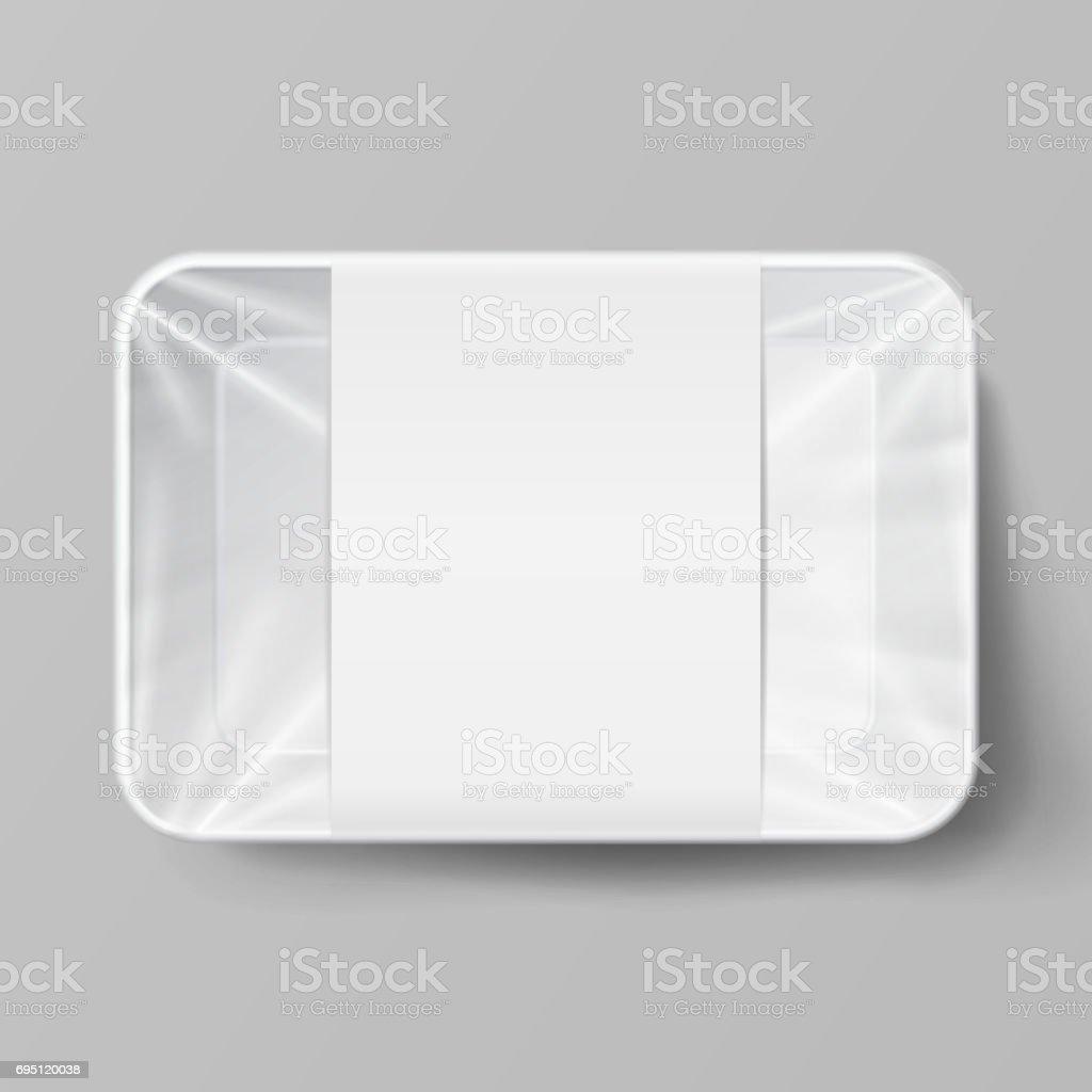 Kunststofflebensmittelverpackung Zu Etikettieren Weiße Leere Leere ...