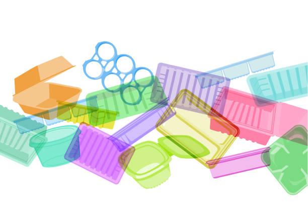 kunststoff essen-container, trays oder verpackung - plastikhülle stock-grafiken, -clipart, -cartoons und -symbole