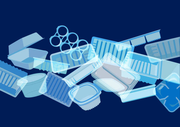 illustrazioni stock, clip art, cartoni animati e icone di tendenza di plastic food containers, trays or packaging - ocean plastic