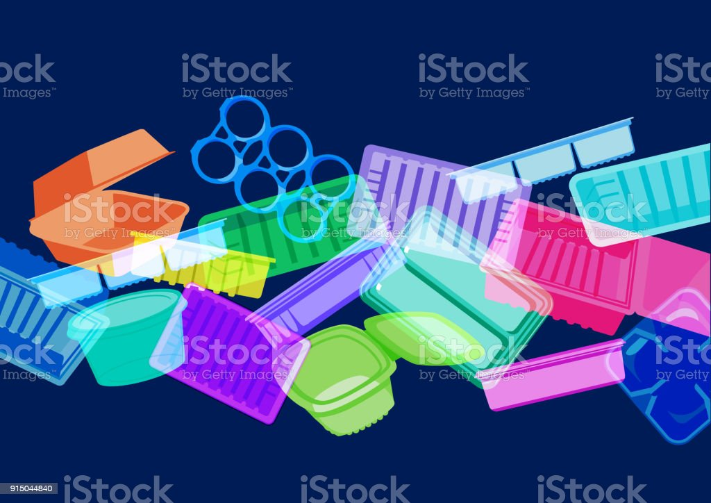 Plastic food containers, trays or packaging vector art illustration