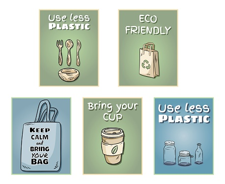 Plastic free set of posters. Motivational phrase. Ecological and zero-waste product. Go green living