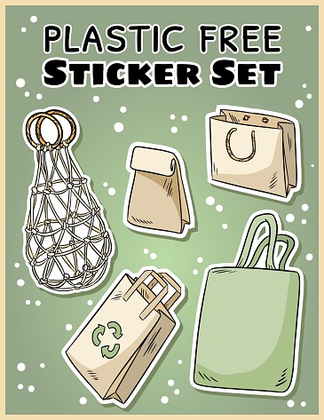 Plastic free sticker set. Ecological and zero-waste collection of labels. Go green living
