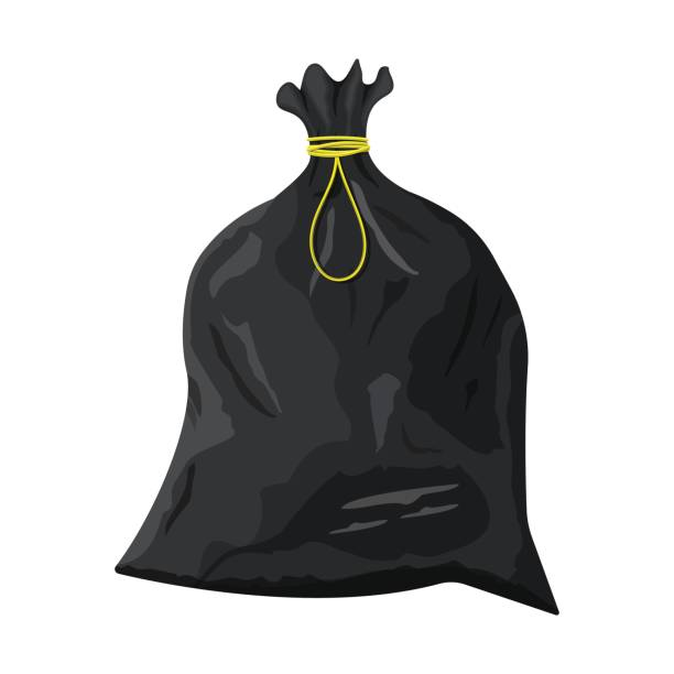 Plastic garbage bag with rope icon. vector art illustration