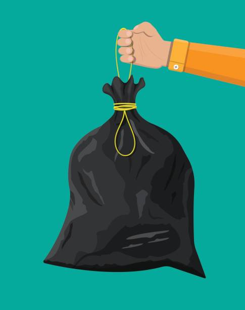 Plastic garbage bag with rope in hand vector art illustration