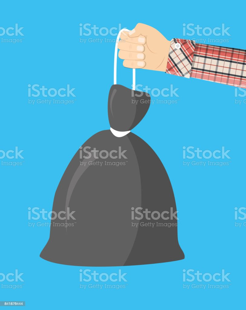 Plastic garbage bag with rope in hand. vector art illustration