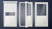 Plastic Door Vector. PVC Plastic Profile. White Empty Roller Shutter. Opened And Closed. Isolated On Transparent Background Illustration