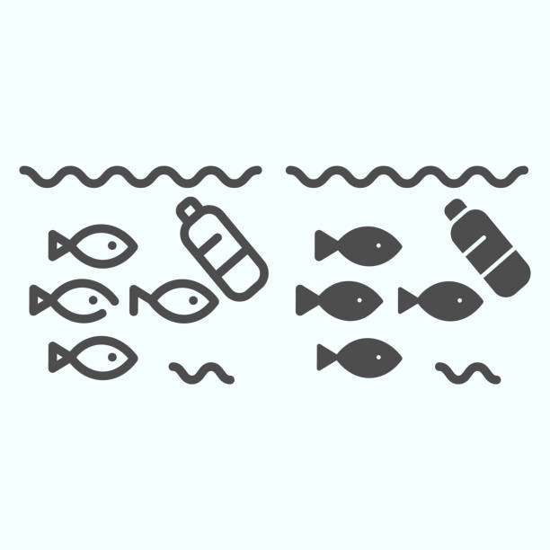 Plastic in water line and solid icon. No water plastic pollution illustration isolated on white. Fish trapped in garbage outline style design, designed for web and app. Eps 10. Plastic in water line and solid icon. No water plastic pollution illustration isolated on white. Fish trapped in garbage outline style design, designed for web and app. Eps 10 plastic pollution stock illustrations