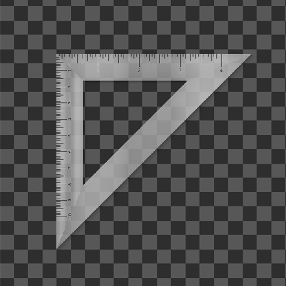 Plastic isosceles triangle with metric and imperial units ruler scale.